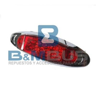 LANTERNA LATERAL ROJO 12 LED BASE CROMADA